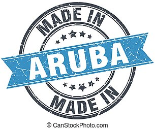made in Aruba blue round vintage stamp