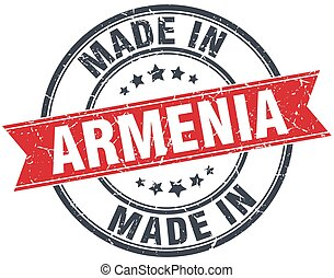made in Armenia red round vintage stamp