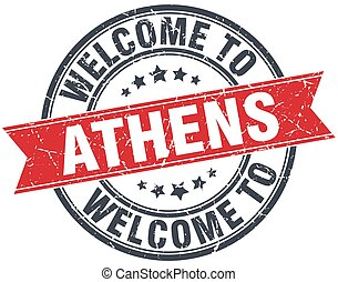 welcome to Athens red round vintage stamp