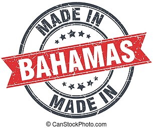 made in Bahamas red round vintage stamp