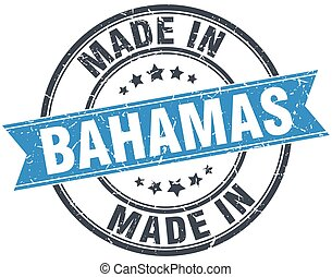 made in Bahamas blue round vintage stamp