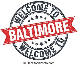 welcome to Baltimore red round vintage stamp