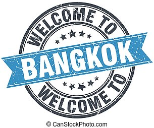 welcome to Bangkok blue round vintage stamp