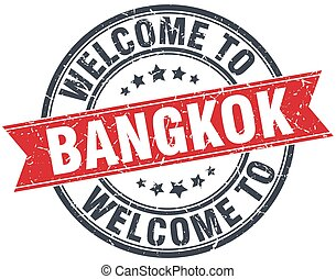 welcome to Bangkok red round vintage stamp