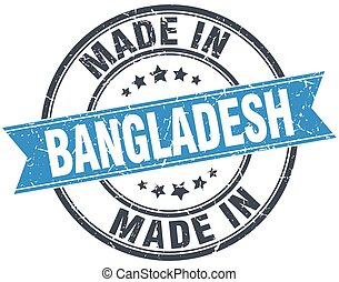 made in Bangladesh blue round vintage stamp