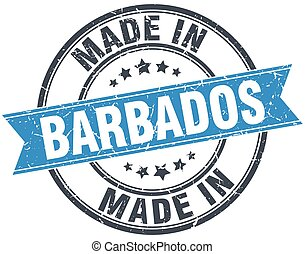made in Barbados blue round vintage stamp