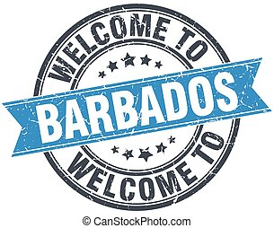 welcome to Barbados blue round vintage stamp