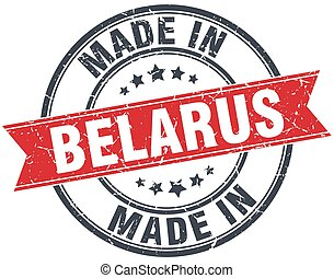 made in Belarus red round vintage stamp