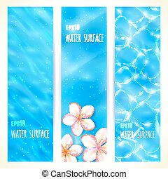 Water surface. - Set of banners. Vector illustration, eps10,...
