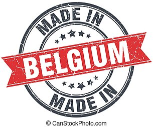made in Belgium red round vintage stamp