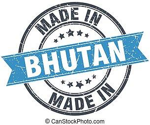 made in Bhutan blue round vintage stamp