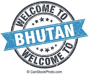 welcome to Bhutan blue round vintage stamp