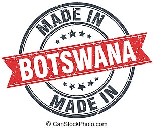 made in Botswana red round vintage stamp