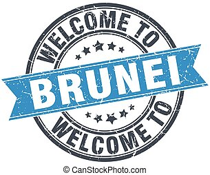welcome to Brunei blue round vintage stamp