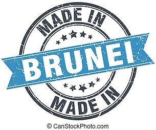 made in Brunei blue round vintage stamp
