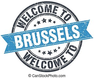 welcome to Brussels blue round vintage stamp