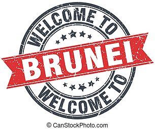 welcome to Brunei red round vintage stamp