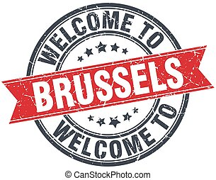 welcome to Brussels red round vintage stamp