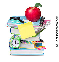 Stack books isolated.School supplies empty blank. - School...