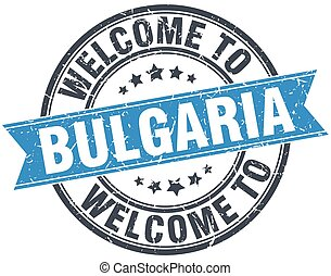 welcome to Bulgaria blue round vintage stamp