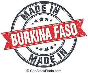 made in Burkina Faso red round vintage stamp