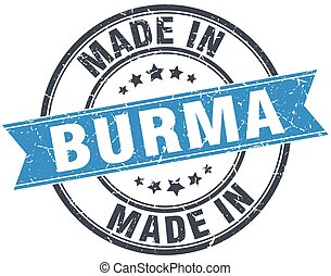 made in Burma blue round vintage stamp