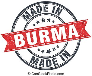 made in Burma red round vintage stamp