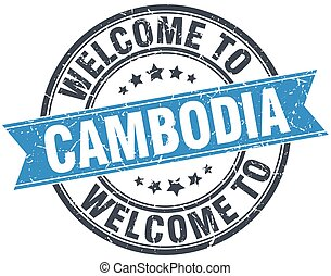 welcome to Cambodia blue round vintage stamp