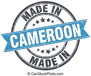 made in Cameroon blue round vintage stamp