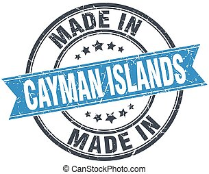 made in Cayman Islands blue round vintage stamp