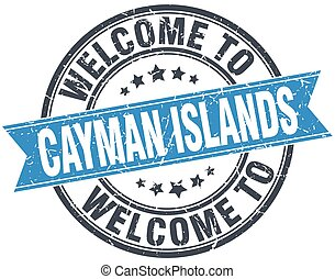 welcome to Cayman Islands blue round vintage stamp