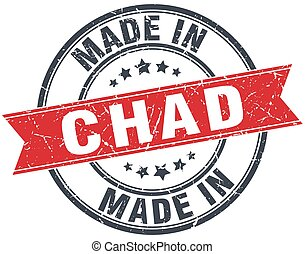 made in Chad red round vintage stamp