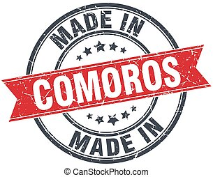 made in Comoros red round vintage stamp