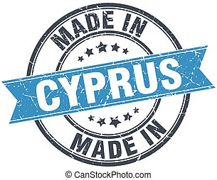 made in Cyprus blue round vintage stamp