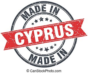 made in Cyprus red round vintage stamp