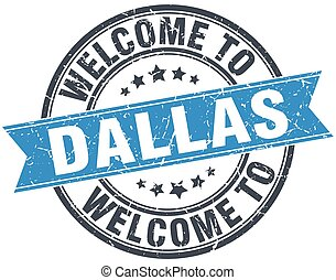 welcome to Dallas blue round vintage stamp