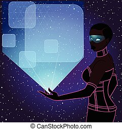 futuristic woman with holo banner