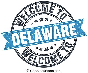 welcome to Delaware blue round vintage stamp