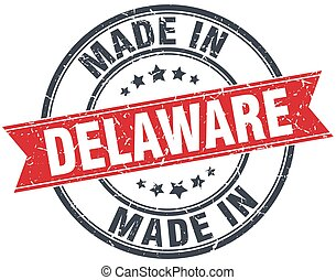 made in Delaware red round vintage stamp