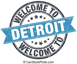welcome to Detroit blue round vintage stamp