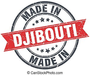 made in Djibouti red round vintage stamp