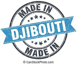 made in Djibouti blue round vintage stamp