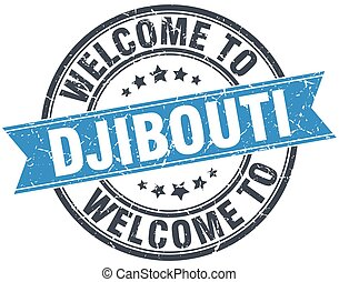 welcome to Djibouti blue round vintage stamp