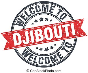 welcome to Djibouti red round vintage stamp