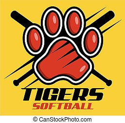 tigers softball team design with paw print for school,...