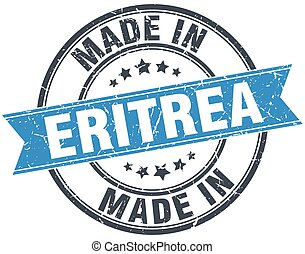 made in Eritrea blue round vintage stamp