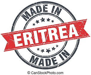 made in Eritrea red round vintage stamp
