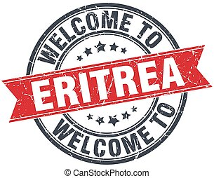welcome to Eritrea red round vintage stamp