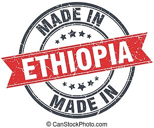 made in Ethiopia red round vintage stamp