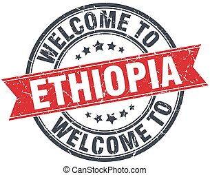 welcome to Ethiopia red round vintage stamp
